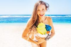 Pretty woman on a beach Royalty Free Stock Photos