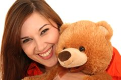 Pretty Woman and Bear Royalty Free Stock Images