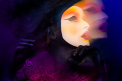 Pretty woman with beautiful fantasy make-up - beauty shot. Pretty woman with beautiful fantasy make-up Royalty Free Stock Photography