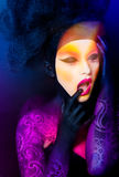 Pretty woman with beautiful fantasy make-up - beauty shot Stock Photography