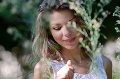 Pretty woman, beautiful moments in nature Stock Image