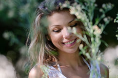 Pretty woman, beautiful moments in nature Royalty Free Stock Image