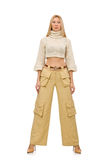 The pretty woman in beige trousers isolated on white Royalty Free Stock Photos