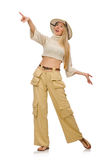 The pretty woman in beige trousers isolated on white Royalty Free Stock Photo