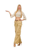 The pretty woman in beige trousers isolated on white Stock Image