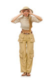Pretty woman in beige trousers  on white Royalty Free Stock Photos