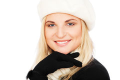 Pretty woman in beret and scarf Stock Images