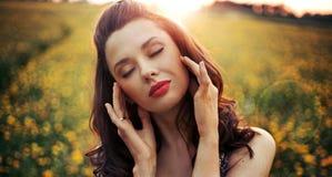 Pretty woman with big sensual lips Royalty Free Stock Photo
