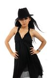 Pretty woman in black Stock Photography