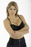 Pretty Woman in Black Bra Royalty Free Stock Photos