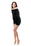 Pretty woman in black dress Royalty Free Stock Image