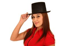 Pretty Woman in Black Hat Royalty Free Stock Photos