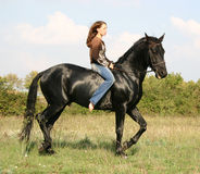 Pretty woman and black horse. Young woman and her friend black stallion Stock Image