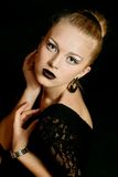 Pretty woman with black make-up lips Royalty Free Stock Photos