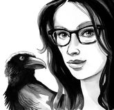 Pretty woman with black raven. Beautiful female in glasses with a black raven bird on her shoulder. Ink and watercolor illustration Royalty Free Stock Images