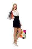 Pretty woman in black and white dress isolated on. The white Stock Photos