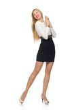 Pretty woman in black and white dress isolated on Royalty Free Stock Images