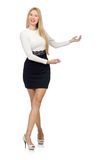 Pretty woman in black and white dress isolated on Royalty Free Stock Image