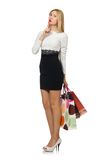Pretty woman in black and white dress isolated on. The white Stock Photography