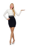 Pretty woman in black and white dress isolated on Royalty Free Stock Photography