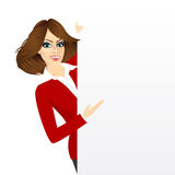 Pretty woman with a blank presentation board Royalty Free Stock Images