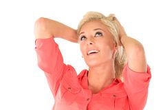 Pretty woman with blond hair Stock Photography