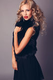Pretty woman with blond hair in elegant black dress and fur. Fashion studio photo of sexy beautiful woman with blond curly hair wearing elegant black dress and Stock Photography