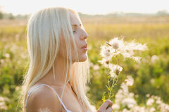Pretty woman is blowing dandelion Royalty Free Stock Image