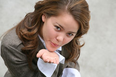 Pretty Woman Blowing Kiss Royalty Free Stock Photography