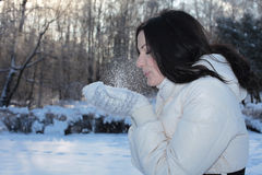 Pretty woman blowing snow Stock Image