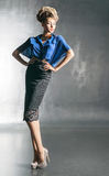 Pretty woman in the blue blouse Royalty Free Stock Photo