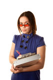 Pretty Woman in Blue Dress with Clipboard Stock Photo