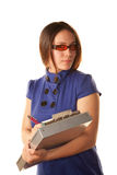 Pretty Woman in Blue Dress with Clipboard Royalty Free Stock Photo