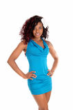 Pretty woman in blue dress. Royalty Free Stock Photos