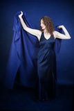 Pretty Woman in Blue Dress and Shawl Stock Images
