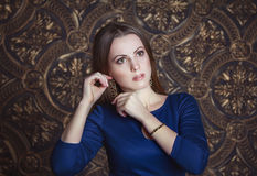 Pretty woman in blue dress Royalty Free Stock Photo