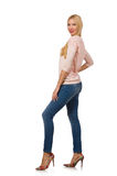 Pretty woman in blue jeans  isolated on white Royalty Free Stock Photo