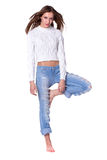 Pretty woman in blue jeans Royalty Free Stock Image