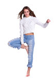 Pretty woman in blue jeans Royalty Free Stock Images