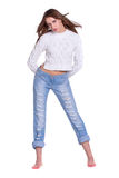 Pretty woman in blue jeans Royalty Free Stock Photo