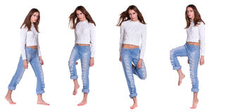 Pretty woman in blue jeans Royalty Free Stock Photos