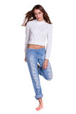 Pretty woman in blue jeanse Stock Photo