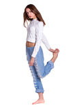 Pretty woman in blue jeanse Stock Photos