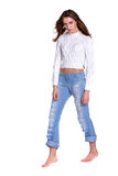 Pretty woman in blue jeanse Royalty Free Stock Photography