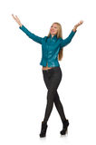 Pretty woman in blue leather jacket isolated on Stock Images