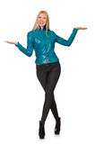 Pretty woman in blue leather jacket isolated on Royalty Free Stock Image