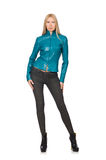 Pretty woman in blue leather jacket isolated on Royalty Free Stock Photography