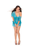 Pretty woman in blue sexy dress Stock Photo