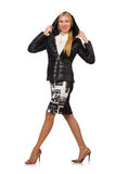 Pretty woman in bologna jacket isolated on white Royalty Free Stock Photo