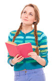 Pretty woman with book Stock Photos